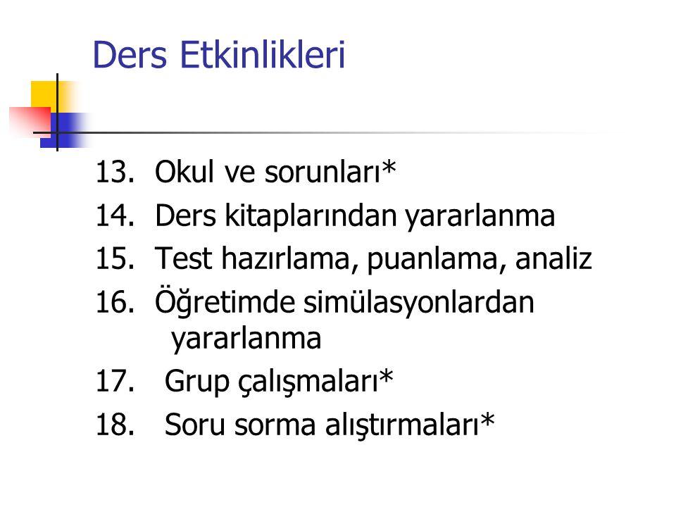 Ders Etkinlikleri 13. Okul ve sorunları* 14. Ders kitaplarından yararlanma 15. Test hazırlama, puanlama, analiz 16. Öğretimde simülasyonlardan yararla