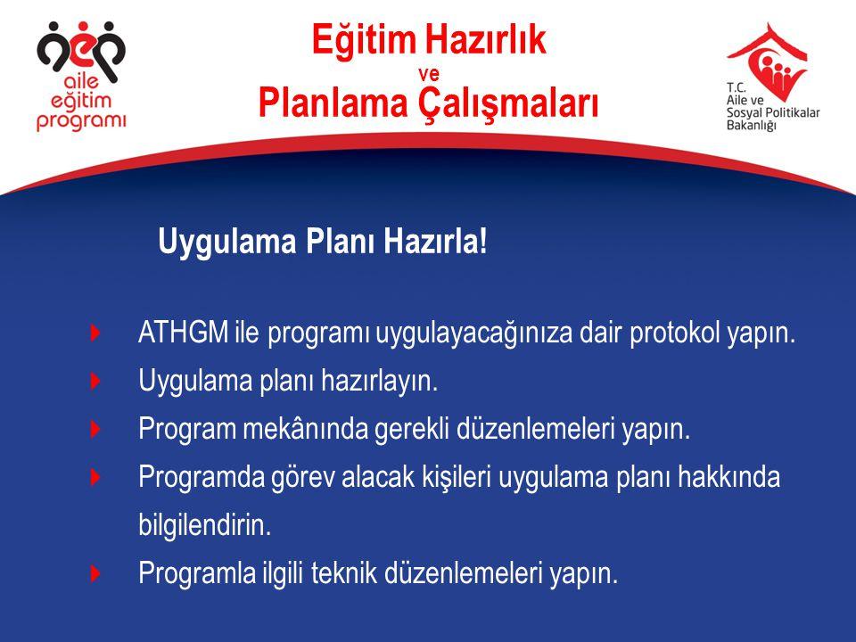 Eğitim Hazırlık ve Planlama Çalışmaları  ATHGM ile programı uygulayacağınıza dair protokol yapın.  Uygulama planı hazırlayın.  Program mekânında ge