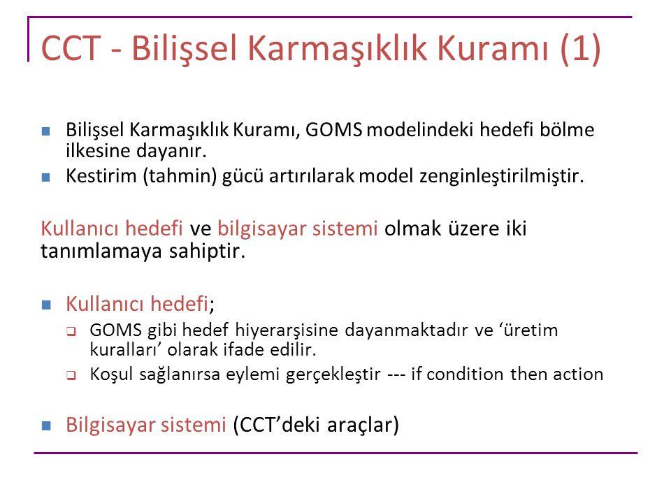 CCT - Bilişsel Karmaşıklık Kuramı (1) Bilişsel Karmaşıklık Kuramı, GOMS modelindeki hedefi bölme ilkesine dayanır. Kestirim (tahmin) gücü artırılarak