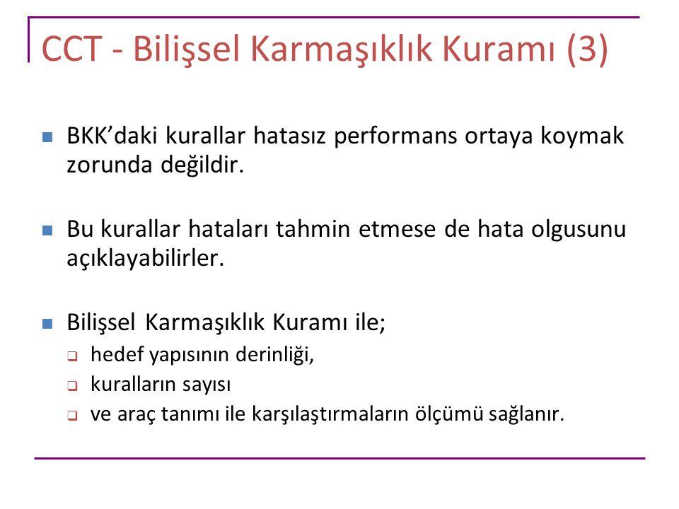 CCT - Bilişsel Karmaşıklık Kuramı (3) BKK'daki kurallar hatasız performans ortaya koymak zorunda değildir. Bu kurallar hataları tahmin etmese de hata