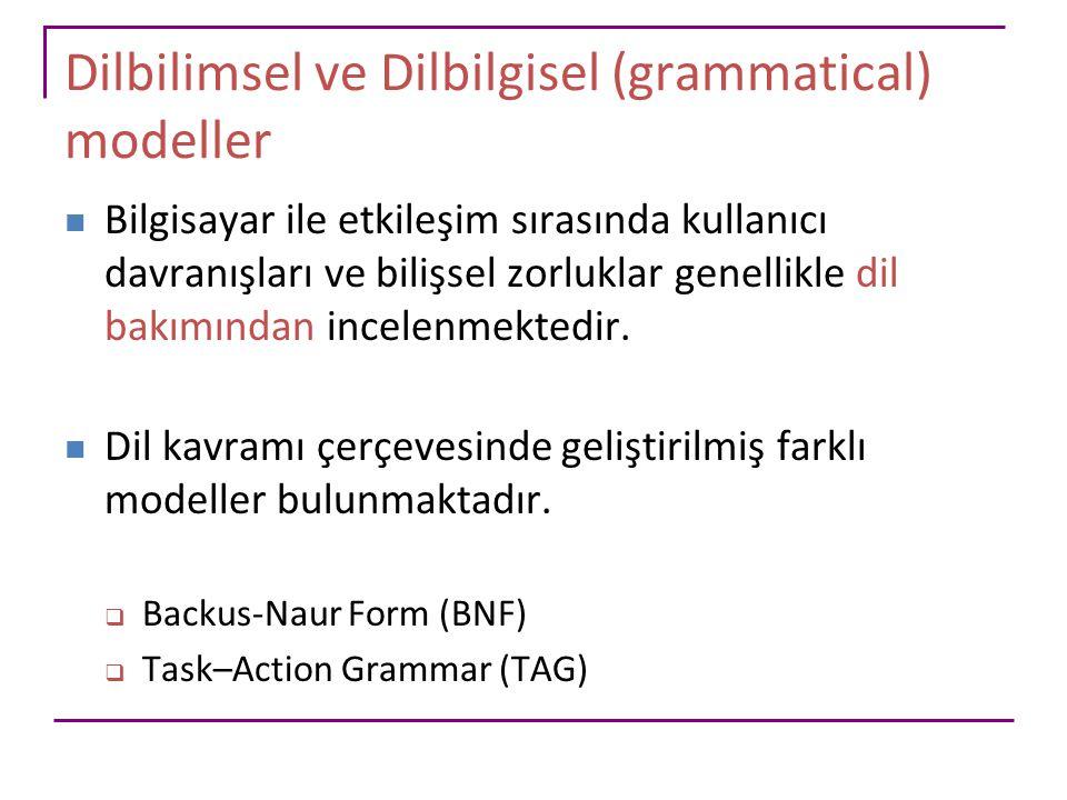 Dilbilimsel ve Dilbilgisel (grammatical) modeller Bilgisayar ile etkileşim sırasında kullanıcı davranışları ve bilişsel zorluklar genellikle dil bakım