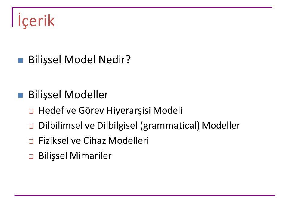 İçerik Bilişsel Model Nedir? Bilişsel Modeller  Hedef ve Görev Hiyerarşisi Modeli  Dilbilimsel ve Dilbilgisel (grammatical) Modeller  Fiziksel ve C