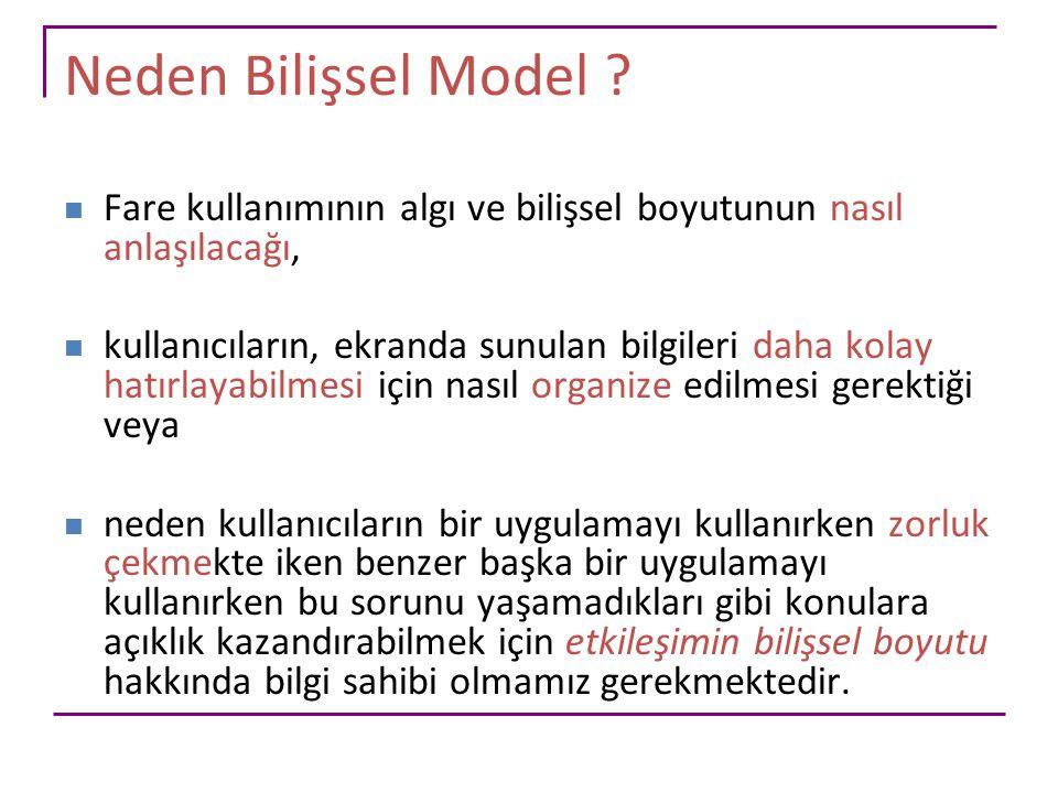 Bilişsel Alt Sistemlerle Etkileşim Modeli Biliş, algı ve eyleme ilişkin modeldir.