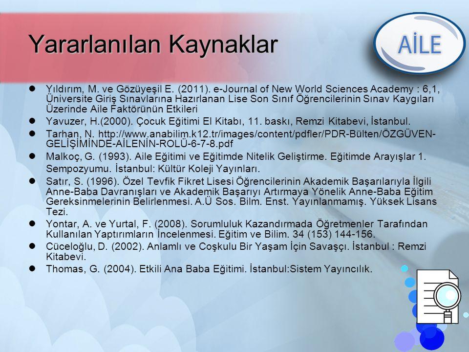 46 Yararlanılan Kaynaklar Yıldırım, M. ve Gözüyeşil E. (2011). e-Journal of New World Sciences Academy : 6,1, Üniversite Giriş Sınavlarına Hazırlanan