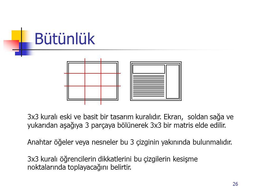 26 Bütünlük 3x3 kuralı eski ve basit bir tasarım kuralıdır. Ekran, soldan sağa ve yukarıdan aşağıya 3 parçaya bölünerek 3x3 bir matris elde edilir. An