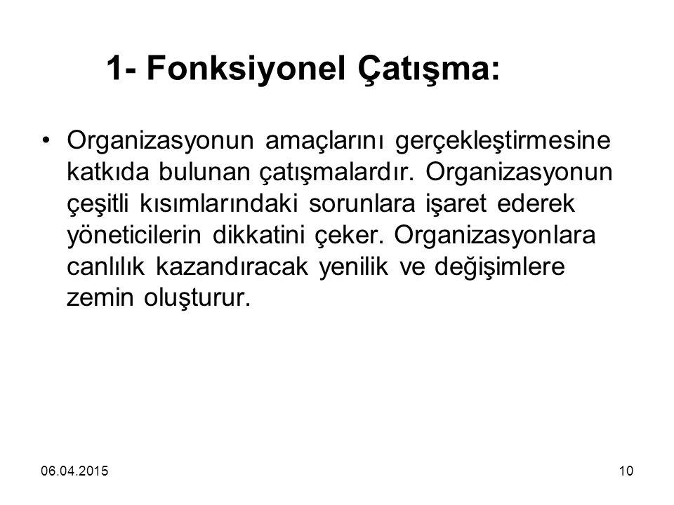 06.04.201510 1- Fonksiyonel Çatışma: Organizasyonun amaçlarını gerçekleştirmesine katkıda bulunan çatışmalardır. Organizasyonun çeşitli kısımlarındaki