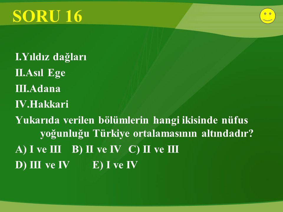 SORU 16 I.Yıldız dağları II.Asıl Ege III.Adana IV.Hakkari Yukarıda verilen bölümlerin hangi ikisinde nüfus yoğunluğu Türkiye ortalamasının altındadır.