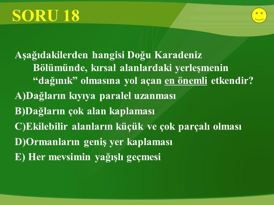 """SORU 18 Aşağıdakilerden hangisi Doğu Karadeniz Bölümünde, kırsal alanlardaki yerleşmenin """"dağınık"""" olmasına yol açan en önemli etkendir? A)Dağların kı"""