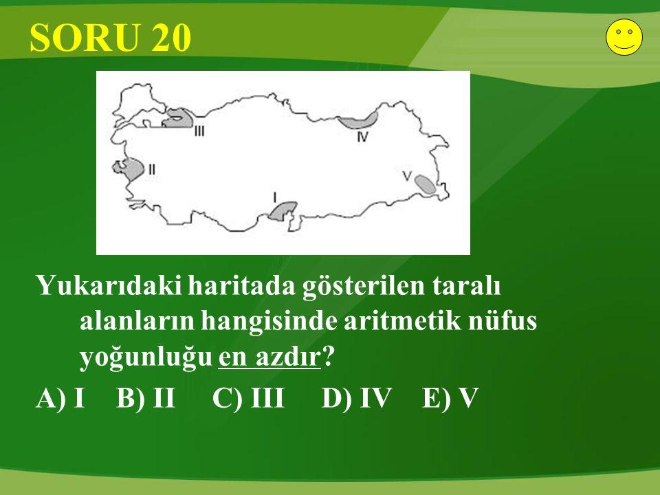 SORU 20 Yukarıdaki haritada gösterilen taralı alanların hangisinde aritmetik nüfus yoğunluğu en azdır? A) I B) II C) III D) IV E) V
