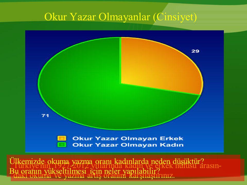 Okur Yazar Olmayanlar (Cinsiyet) Türkiye'nin 1927-2012 yıllarında kadın ve erkek nüfusu arasın- daki okuma ve yazma artış oranını karşılaştırınız. Ülk