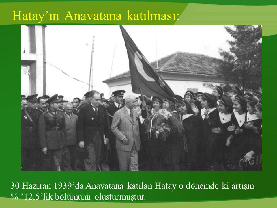 Hatay'ın Anavatana katılması: 30 Haziran 1939'da Anavatana katılan Hatay o dönemde ki artışın % '12,5'lik bölümünü oluşturmuştur.