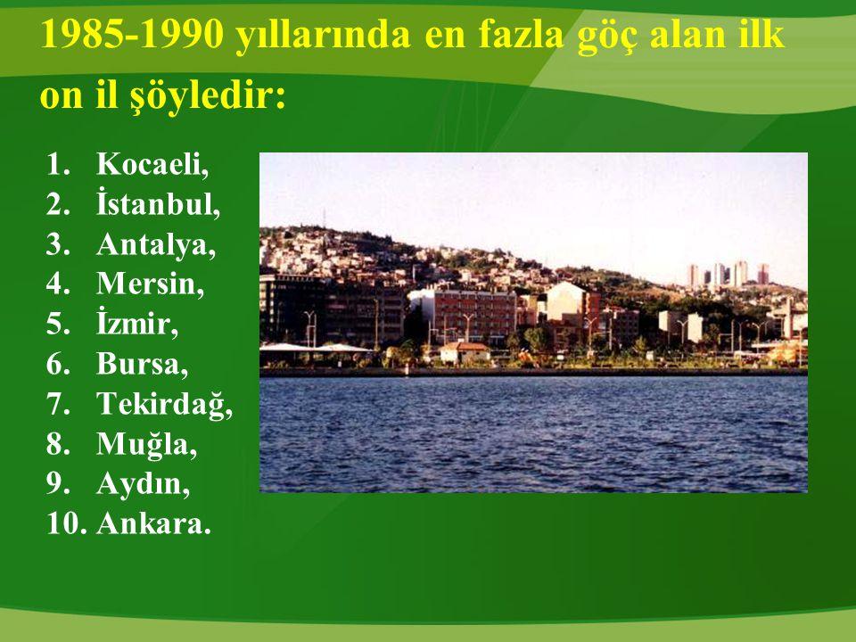 1985-1990 yıllarında en fazla göç alan ilk on il şöyledir: 1.Kocaeli, 2.İstanbul, 3.Antalya, 4.Mersin, 5.İzmir, 6.Bursa, 7.Tekirdağ, 8.Muğla, 9.Aydın,
