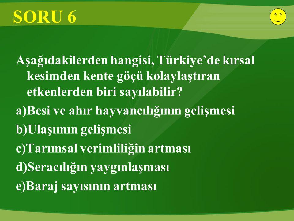 SORU 6 Aşağıdakilerden hangisi, Türkiye'de kırsal kesimden kente göçü kolaylaştıran etkenlerden biri sayılabilir? a)Besi ve ahır hayvancılığının geliş