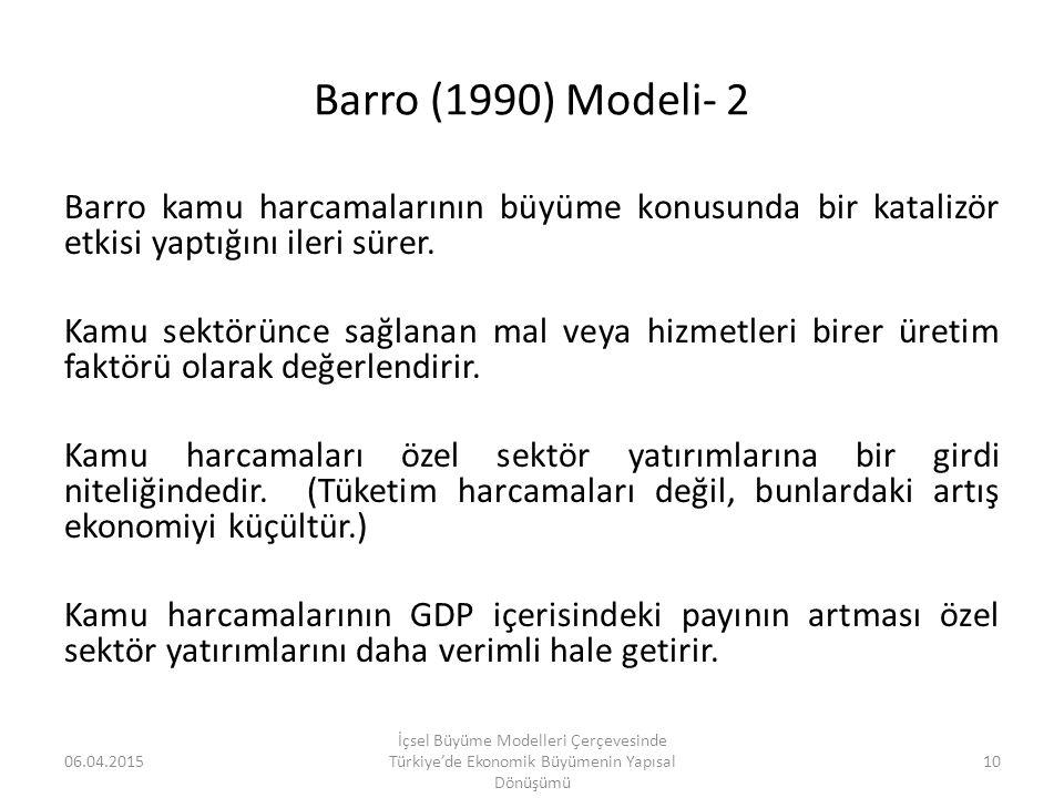 Barro (1990) Modeli- 2 Barro kamu harcamalarının büyüme konusunda bir katalizör etkisi yaptığını ileri sürer. Kamu sektörünce sağlanan mal veya hizmet