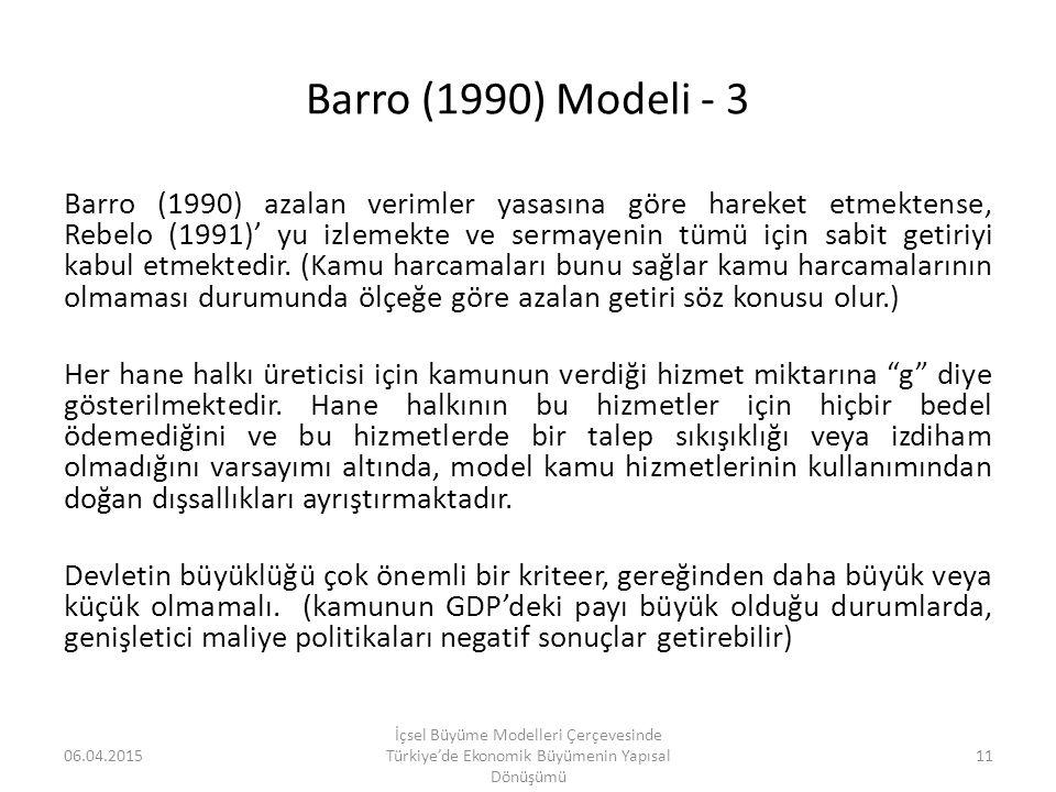 Barro (1990) Modeli - 3 Barro (1990) azalan verimler yasasına göre hareket etmektense, Rebelo (1991)' yu izlemekte ve sermayenin tümü için sabit getir