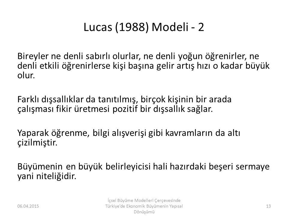 Lucas (1988) Modeli - 2 Bireyler ne denli sabırlı olurlar, ne denli yoğun öğrenirler, ne denli etkili öğrenirlerse kişi başına gelir artış hızı o kada