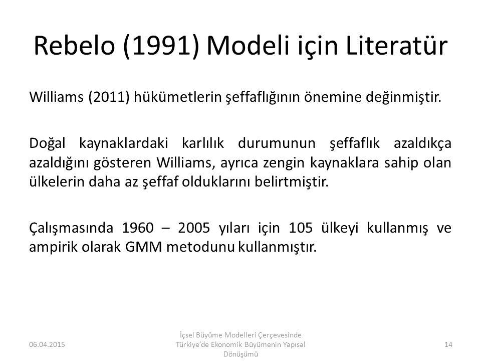 Rebelo (1991) Modeli için Literatür Williams (2011) hükümetlerin şeffaflığının önemine değinmiştir. Doğal kaynaklardaki karlılık durumunun şeffaflık a