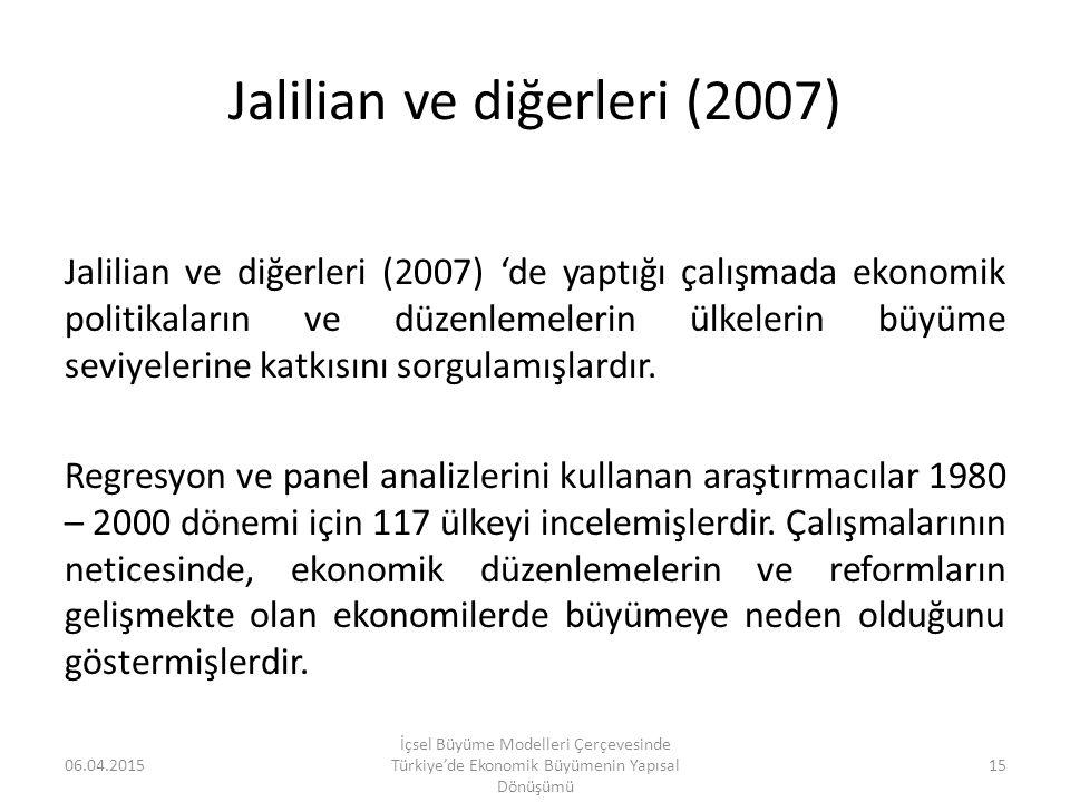 Jalilian ve diğerleri (2007) Jalilian ve diğerleri (2007) 'de yaptığı çalışmada ekonomik politikaların ve düzenlemelerin ülkelerin büyüme seviyelerine
