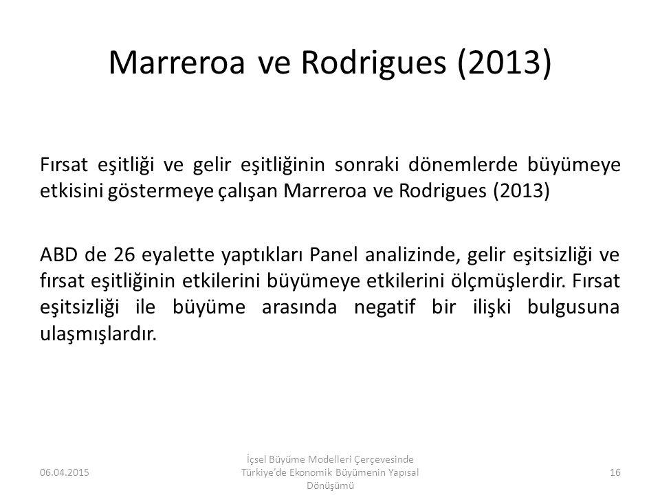 Marreroa ve Rodrigues (2013) Fırsat eşitliği ve gelir eşitliğinin sonraki dönemlerde büyümeye etkisini göstermeye çalışan Marreroa ve Rodrigues (2013)