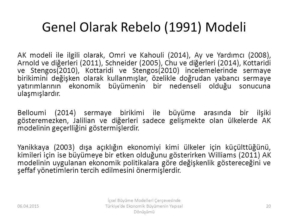 Genel Olarak Rebelo (1991) Modeli AK modeli ile ilgili olarak, Omri ve Kahouli (2014), Ay ve Yardımcı (2008), Arnold ve diğerleri (2011), Schneider (2