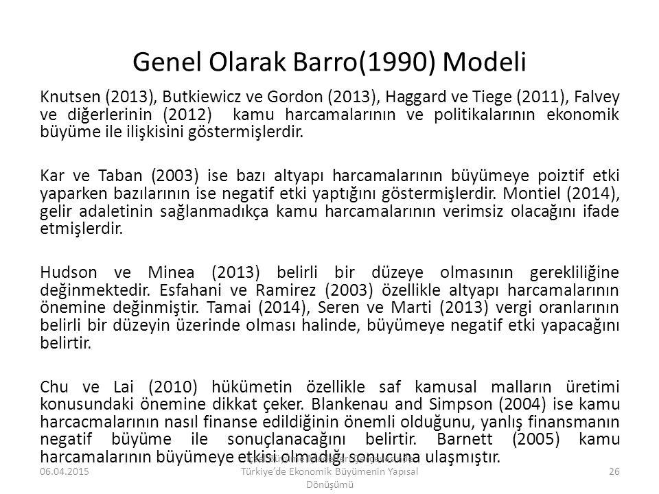 Genel Olarak Barro(1990) Modeli Knutsen (2013), Butkiewicz ve Gordon (2013), Haggard ve Tiege (2011), Falvey ve diğerlerinin (2012) kamu harcamalarını