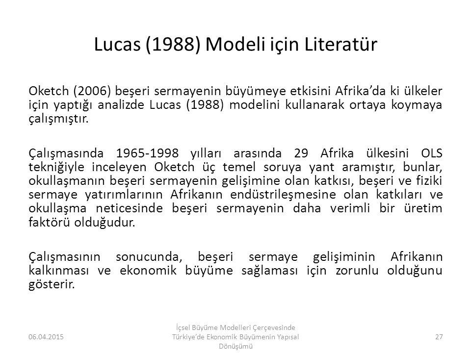 Lucas (1988) Modeli için Literatür Oketch (2006) beşeri sermayenin büyümeye etkisini Afrika'da ki ülkeler için yaptığı analizde Lucas (1988) modelini