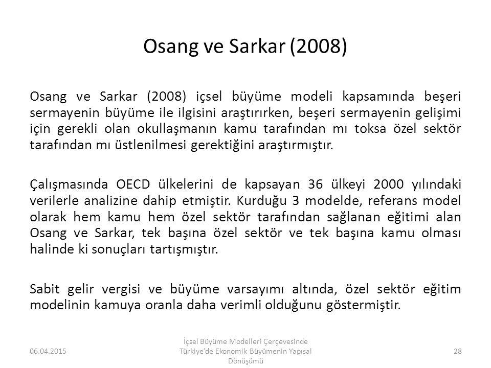 Osang ve Sarkar (2008) Osang ve Sarkar (2008) içsel büyüme modeli kapsamında beşeri sermayenin büyüme ile ilgisini araştırırken, beşeri sermayenin gel