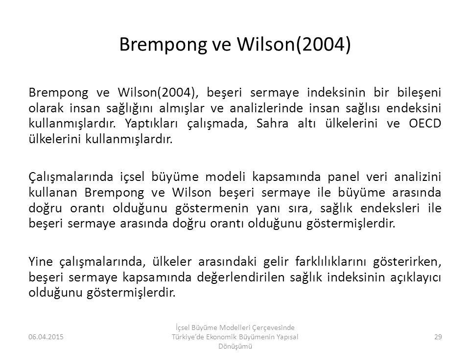 Brempong ve Wilson(2004) Brempong ve Wilson(2004), beşeri sermaye indeksinin bir bileşeni olarak insan sağlığını almışlar ve analizlerinde insan sağlı