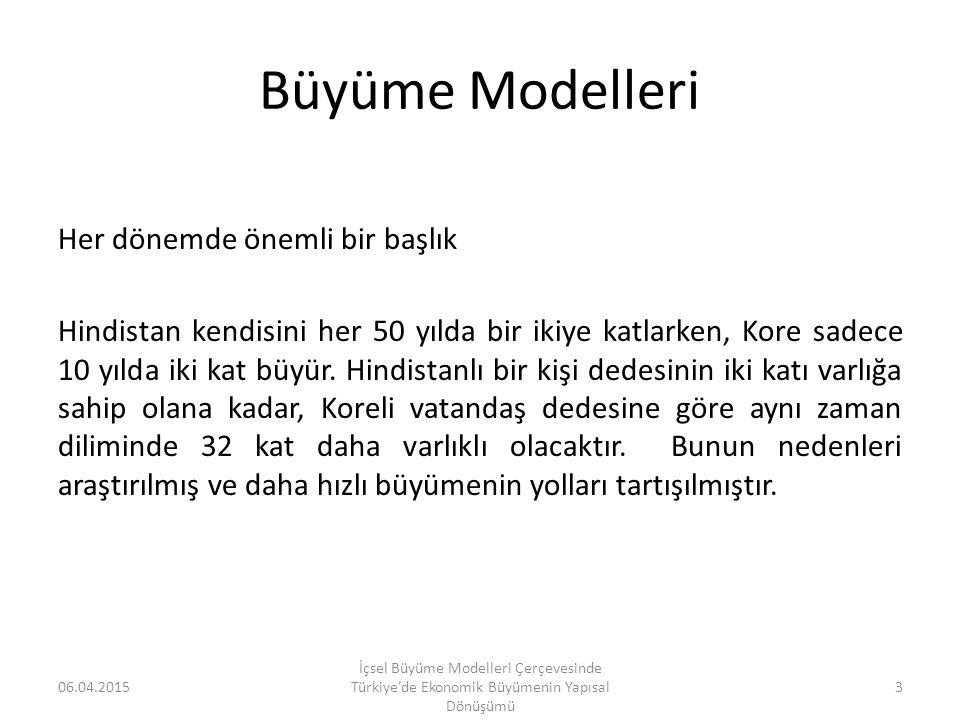 Barro (1990) için Granger Nedensellik Testi Sonuçları 06.04.2015 İçsel Büyüme Modelleri Çerçevesinde Türkiye'de Ekonomik Büyümenin Yapısal Dönüşümü 44 Granger nedensellik analizine göre, incelenen dönemde kamu harcamaları ile büyüme arasında bir ilişki bulunamamıştır.