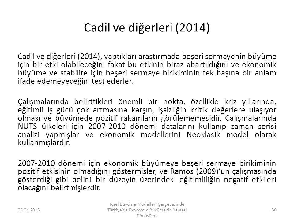 Cadil ve diğerleri (2014) Cadil ve diğerleri (2014), yaptıkları araştırmada beşeri sermayenin büyüme için bir etki olabileceğini fakat bu etkinin bira