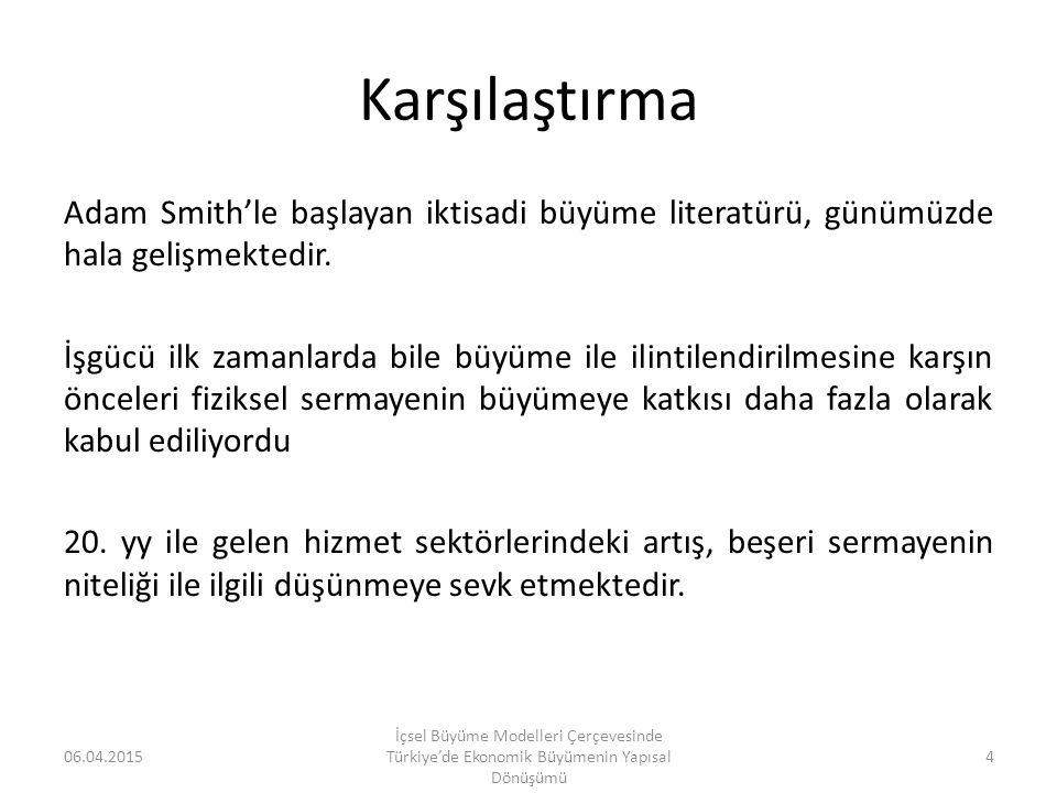 Kar ve Taban (2003) Kar ve Taban (2003), içsel büyüme çerçevesini kullanarak yaptıkları ekonometrik çalışmalarında, Türkiye'de eğitim ve sosyal güvenlik harcamalarının ekonomik büyümeyi pozitif olarak etkilediği, sağlık ve altyapı yatırımlarının ise, ekonomik büyümeyi negatif yönde etkilediğine ilişkin sonuçlar elde edilmiştir.