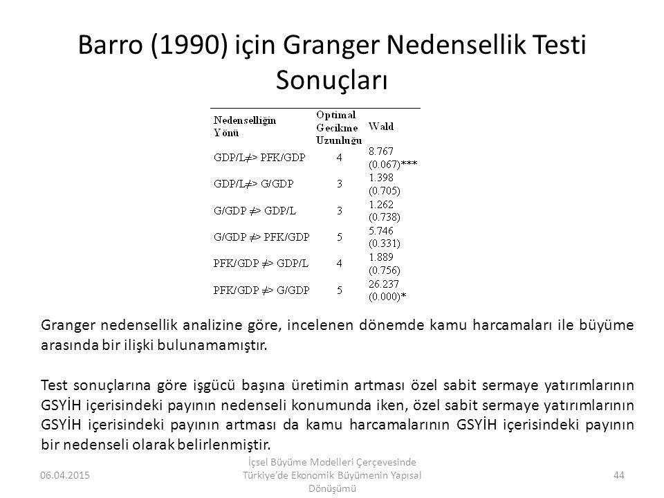 Barro (1990) için Granger Nedensellik Testi Sonuçları 06.04.2015 İçsel Büyüme Modelleri Çerçevesinde Türkiye'de Ekonomik Büyümenin Yapısal Dönüşümü 44