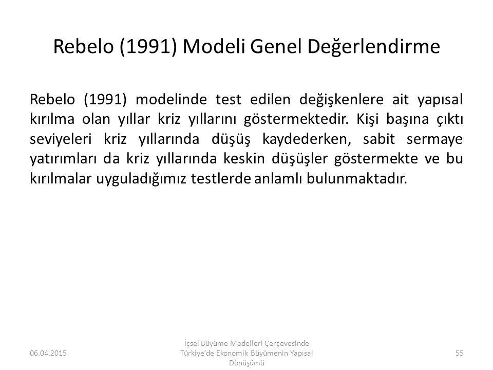 Rebelo (1991) Modeli Genel Değerlendirme Rebelo (1991) modelinde test edilen değişkenlere ait yapısal kırılma olan yıllar kriz yıllarını göstermektedi