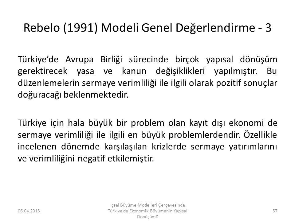 Rebelo (1991) Modeli Genel Değerlendirme - 3 Türkiye'de Avrupa Birliği sürecinde birçok yapısal dönüşüm gerektirecek yasa ve kanun değişiklikleri yapı