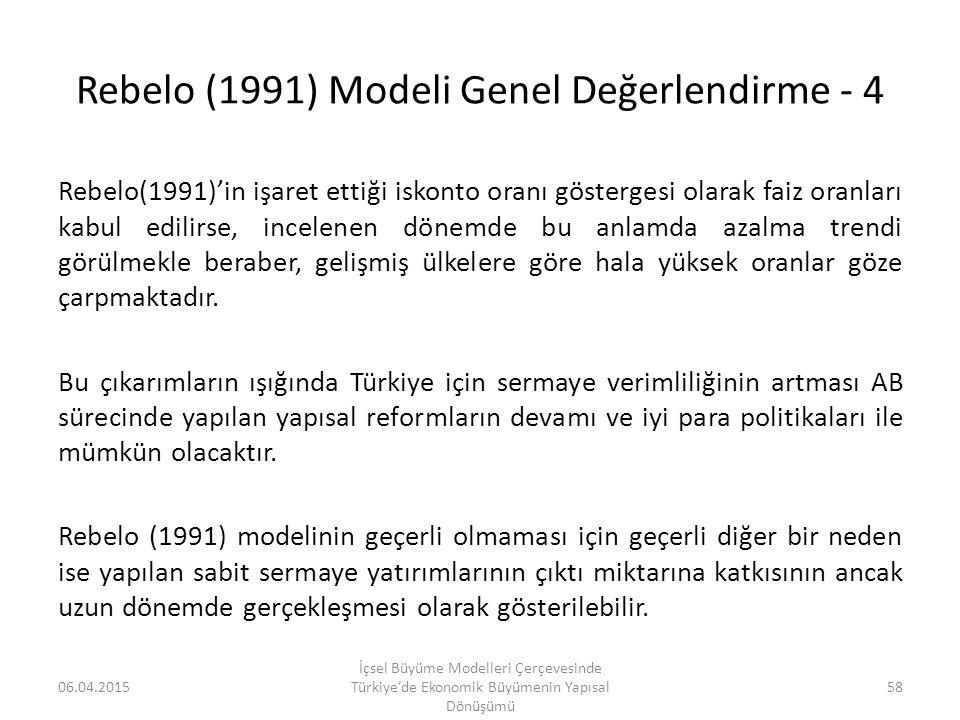 Rebelo (1991) Modeli Genel Değerlendirme - 4 Rebelo(1991)'in işaret ettiği iskonto oranı göstergesi olarak faiz oranları kabul edilirse, incelenen dön