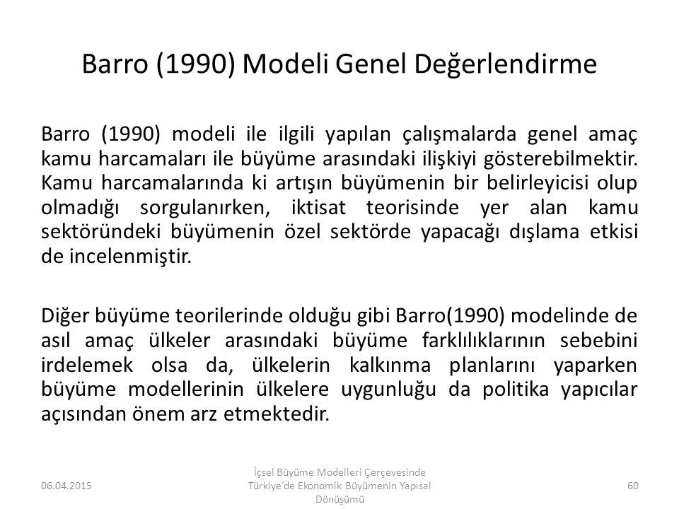 Barro (1990) Modeli Genel Değerlendirme Barro (1990) modeli ile ilgili yapılan çalışmalarda genel amaç kamu harcamaları ile büyüme arasındaki ilişkiyi