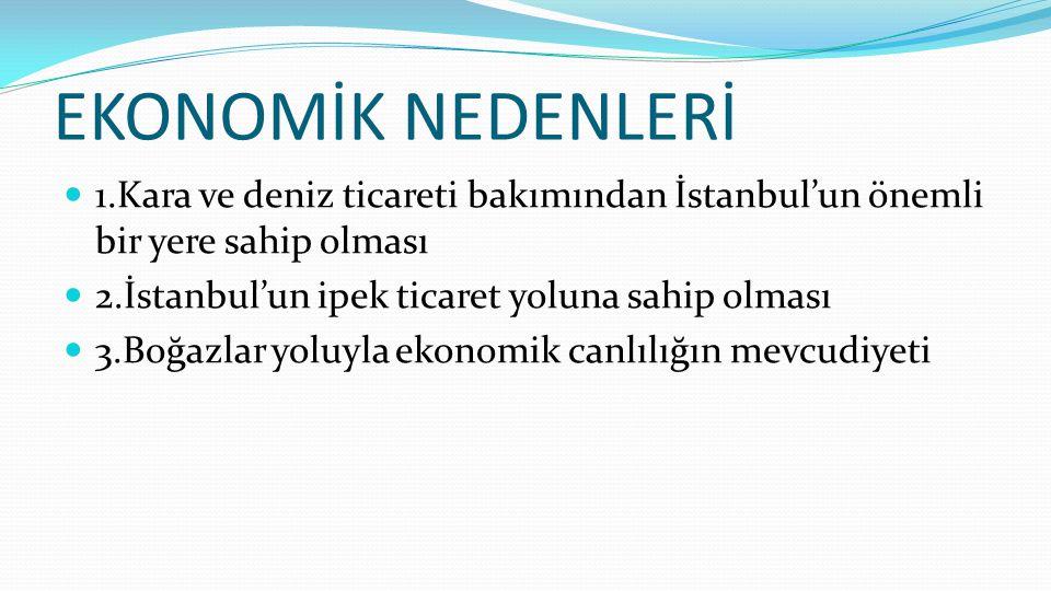 DİNİ NEDENLER 1. Hz. Muhammed'in İstanbul'un fethi ile ilgili sözleri 2. İstanbul'un Ortodoksların merkezi olması