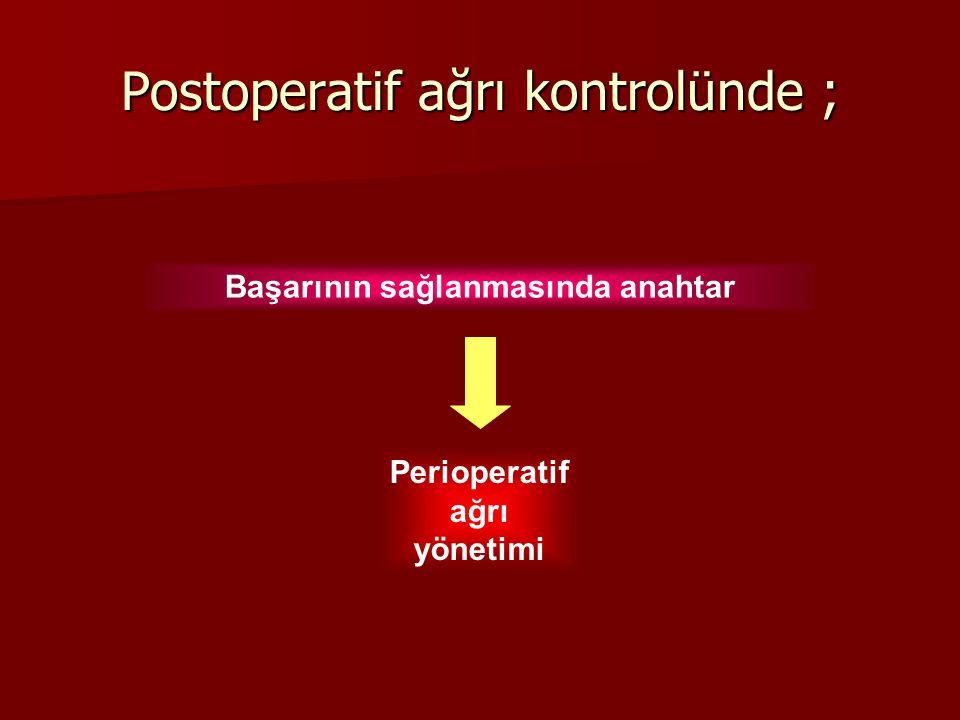 Postoperatif ağrı kontrolünde ; Başarının sağlanmasında anahtar Perioperatif ağrı yönetimi