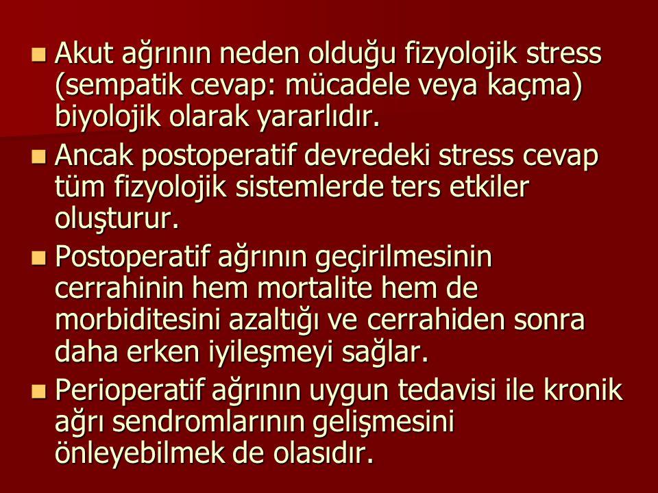 Akut ağrının neden olduğu fizyolojik stress (sempatik cevap: mücadele veya kaçma) biyolojik olarak yararlıdır. Akut ağrının neden olduğu fizyolojik st