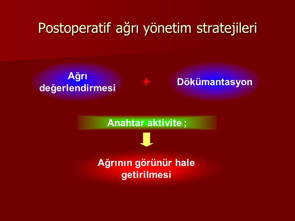 Postoperatif ağrı yönetim stratejileri Ağrı değerlendirmesi Dökümantasyon + Anahtar aktivite ; Ağrının görünür hale getirilmesi