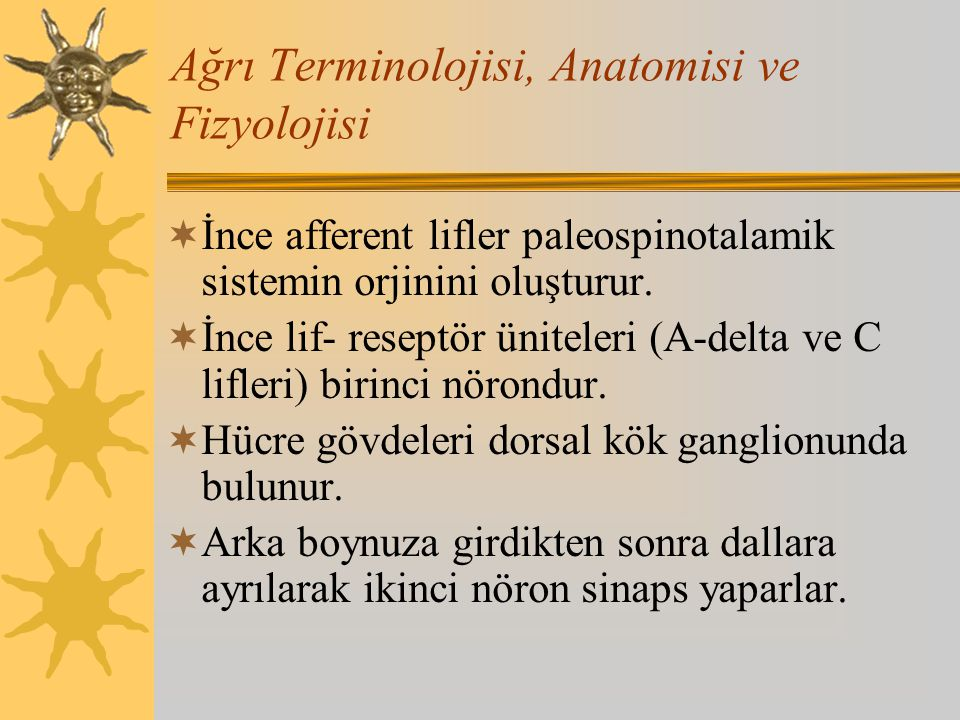 Ağrı Terminolojisi, Anatomisi ve Fizyolojisi  İnce afferent lifler paleospinotalamik sistemin orjinini oluşturur.  İnce lif- reseptör üniteleri (A-d