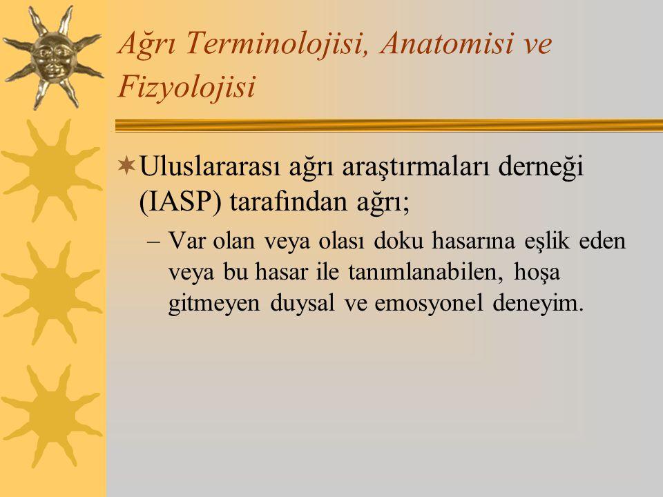 Ağrı Terminolojisi, Anatomisi ve Fizyolojisi  Uluslararası ağrı araştırmaları derneği (IASP) tarafından ağrı; –Var olan veya olası doku hasarına eşli