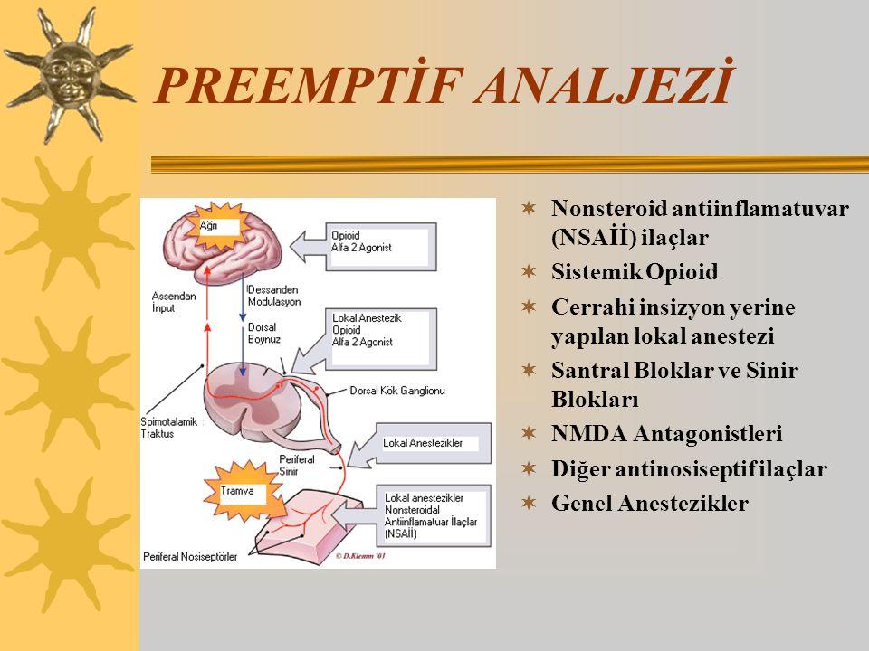 PREEMPTİF ANALJEZİ  Nonsteroid antiinflamatuvar (NSAİİ) ilaçlar  Sistemik Opioid  Cerrahi insizyon yerine yapılan lokal anestezi  Santral Bloklar