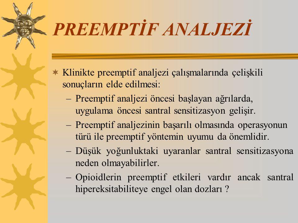 PREEMPTİF ANALJEZİ  Klinikte preemptif analjezi çalışmalarında çelişkili sonuçların elde edilmesi: –Preemptif analjezi öncesi başlayan ağrılarda, uyg