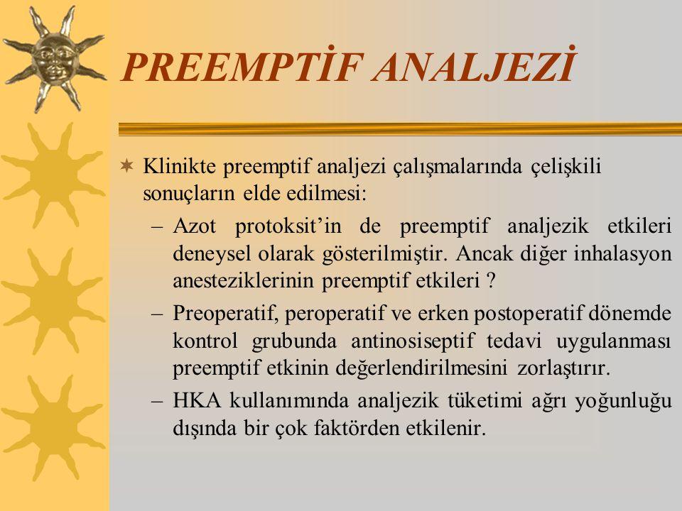 PREEMPTİF ANALJEZİ  Klinikte preemptif analjezi çalışmalarında çelişkili sonuçların elde edilmesi: –Azot protoksit'in de preemptif analjezik etkileri