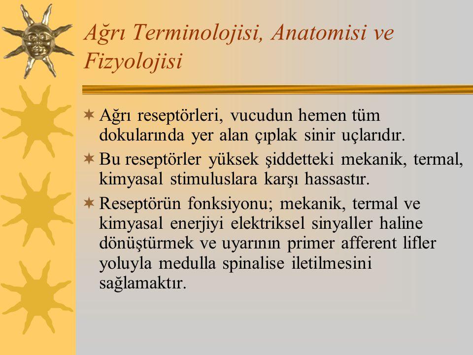 Ağrı Terminolojisi, Anatomisi ve Fizyolojisi  Ayrıca endojen algojenler: K iyonları, bradikinin, histamin, hidrojen, substance P ve diğer peptidler, prostaglandinler, lökotrienler, kininler ve bunlarla ilişkili bileşikler, seratonin gibi maddeler de nosiseptörlerin aktive olmasında ve primer hiperaljezide rol oynar.