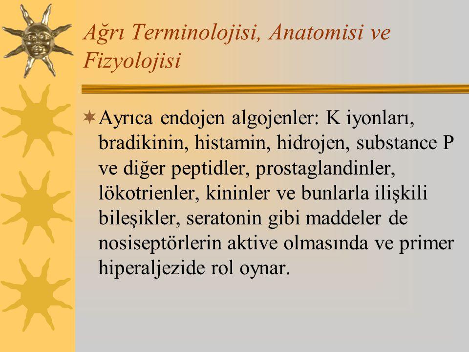 Ağrı Terminolojisi, Anatomisi ve Fizyolojisi  Ayrıca endojen algojenler: K iyonları, bradikinin, histamin, hidrojen, substance P ve diğer peptidler,