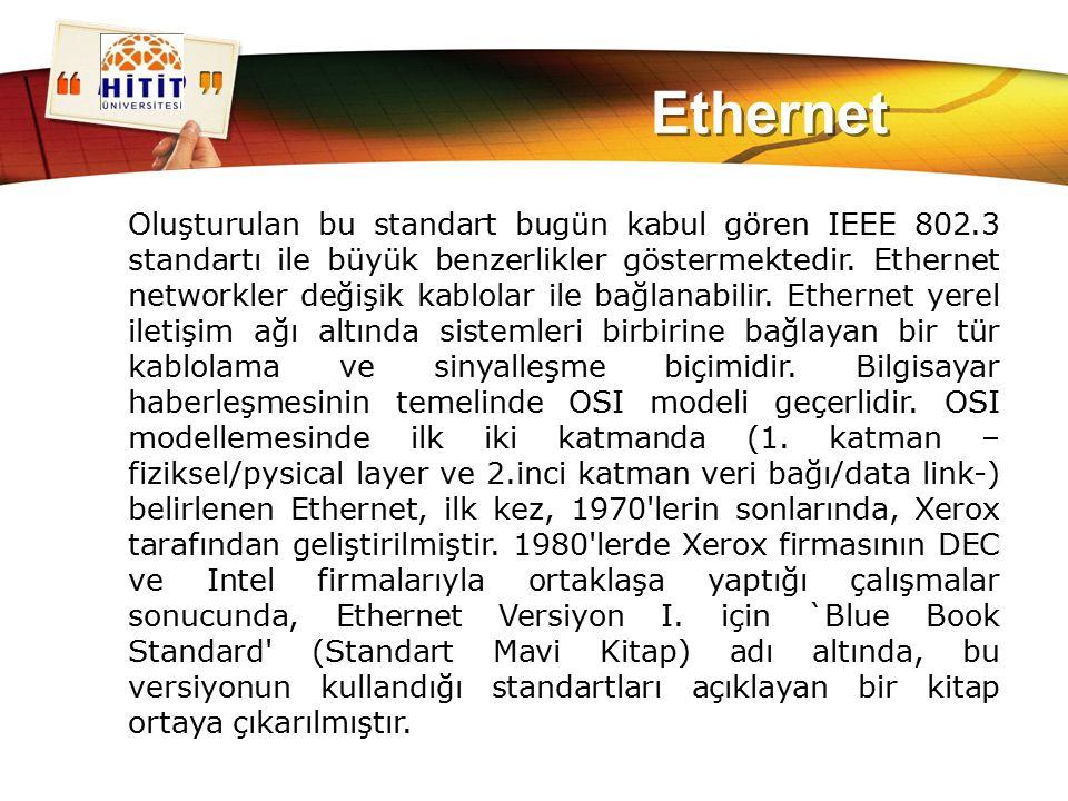 LOGO Ethernet Oluşturulan bu standart bugün kabul gören IEEE 802.3 standartı ile büyük benzerlikler göstermektedir. Ethernet networkler değişik kablol