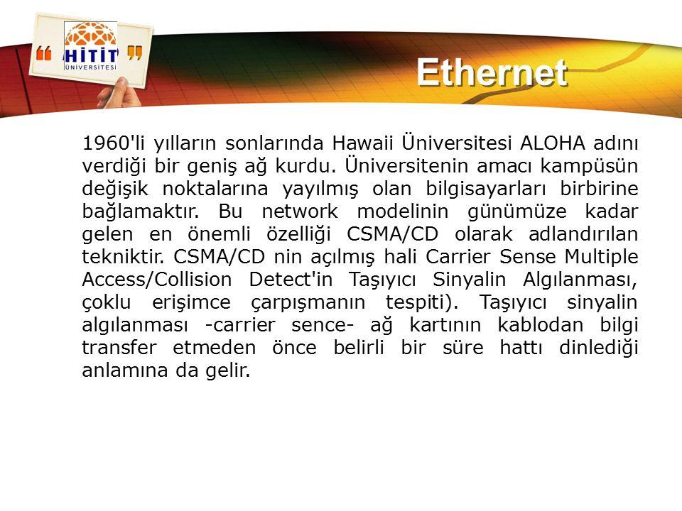LOGO Ethernet 1960'li yılların sonlarında Hawaii Üniversitesi ALOHA adını verdiği bir geniş ağ kurdu. Üniversitenin amacı kampüsün değişik noktalarına