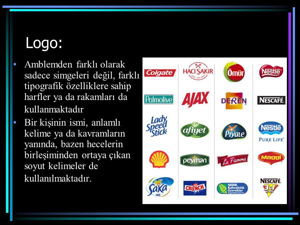 Logo: Amblemden farklı olarak sadece simgeleri değil, farklı tipografik özelliklere sahip harfler ya da rakamları da kullanmaktadır Bir kişinin ismi,